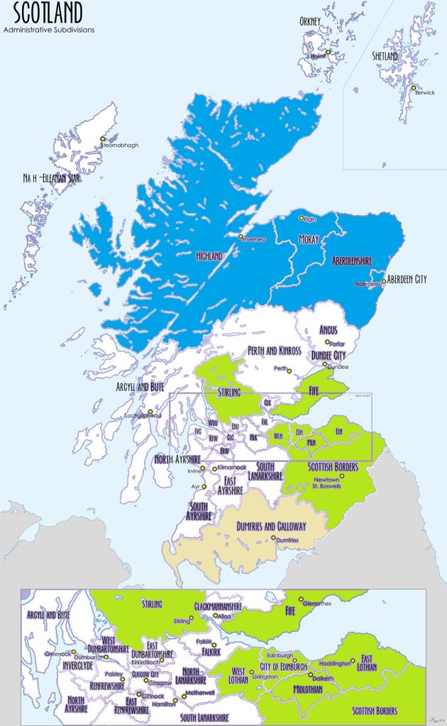 Senior League:Light Blue - Highland League, Green - East of Scotland League, Beige - South of Scotland League